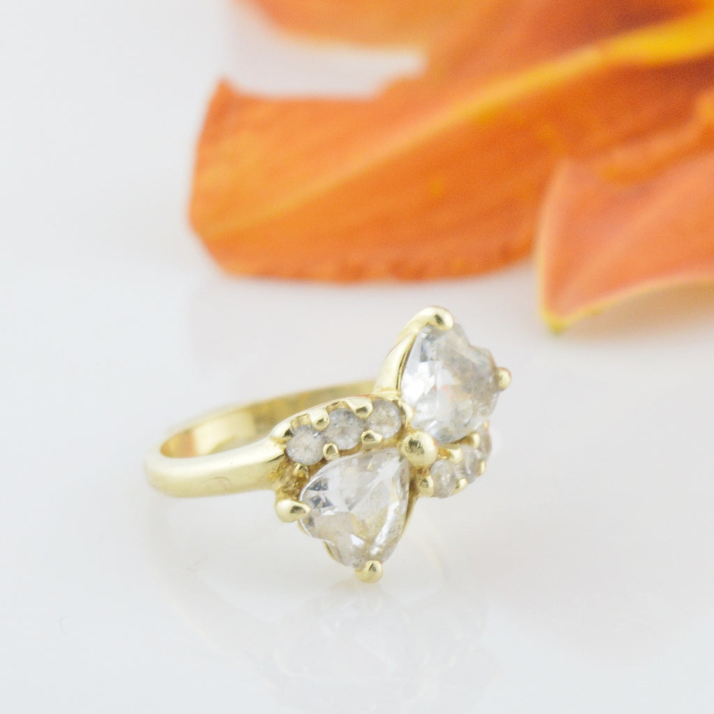 14k Yellow Gold Estate White Spinel Multistone Ring Size 6