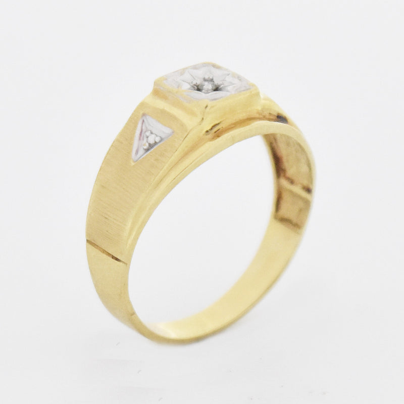 10k Yellow Gold Vintage Textured Diamond Ring Size 10.5