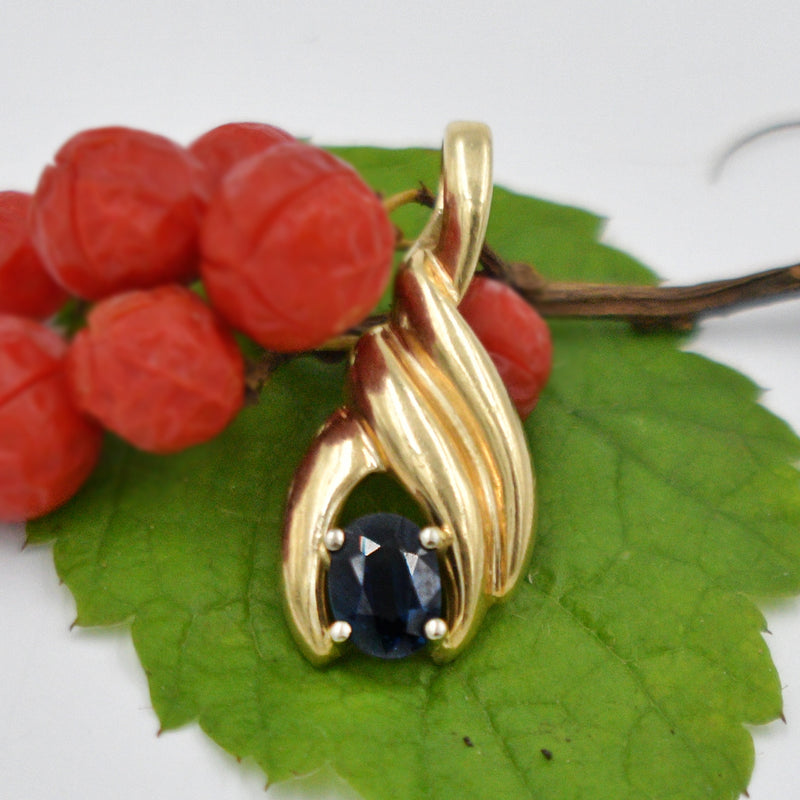 14k Yellow Gold Estate Swirl Drop/Dangle Sapphire Gemstone Pendant