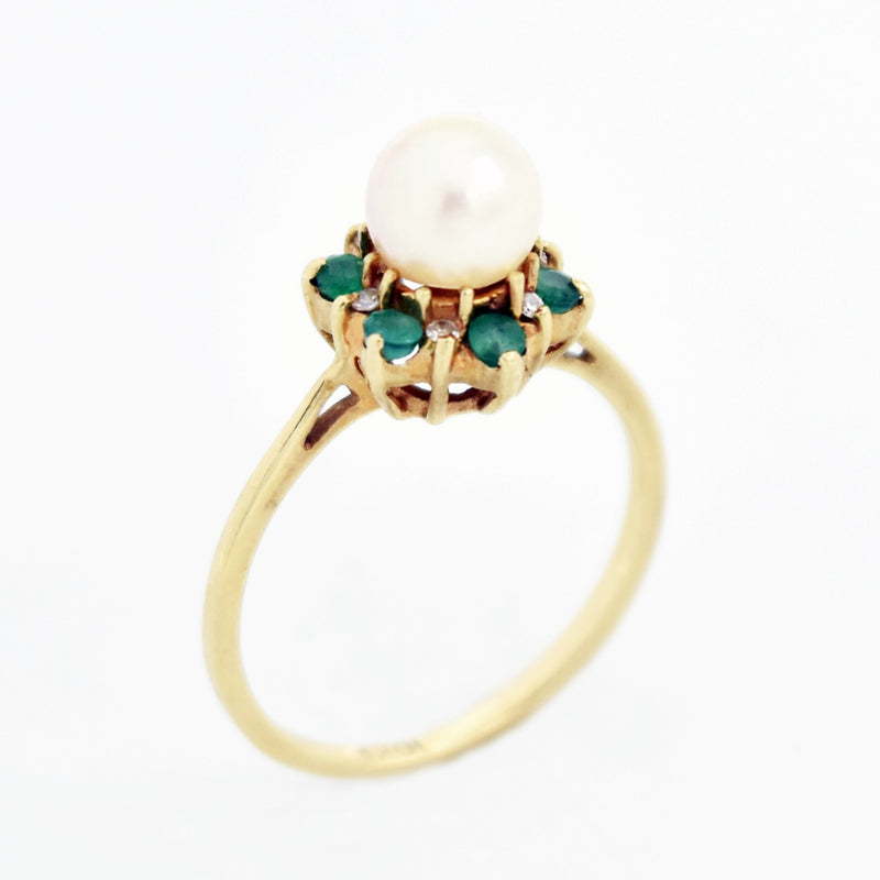 10k Yellow Gold Estate Pearl Emerald & Diamond Ring Size 6.75