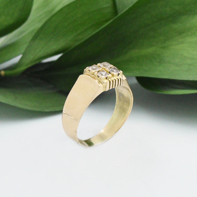 14k Yellow Gold Vintage 4 White Spinel Cluster Ring Size 8