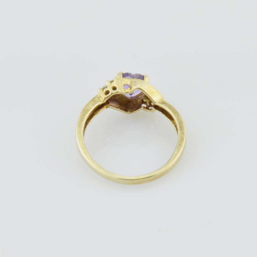 10k Yellow Gold Estate Amethyst Multistone Ring Size 6.5