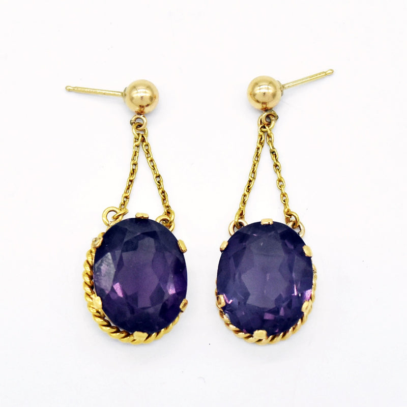 18k Yellow Gold Estate Purple Sapphire Dangle/Drop Post Earrings