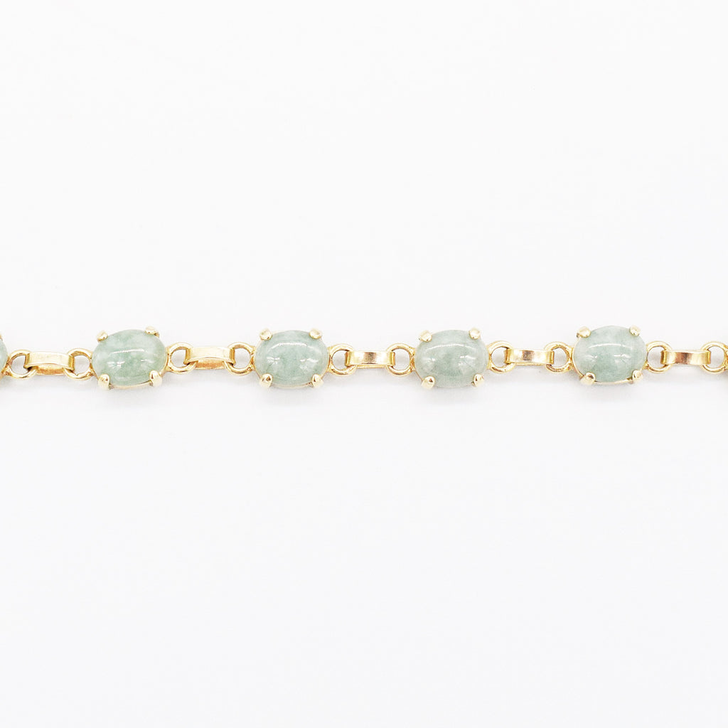"14k Yellow Gold Estate Jade Gemstone Chain Link Bracelet 7 1/4"" Long"