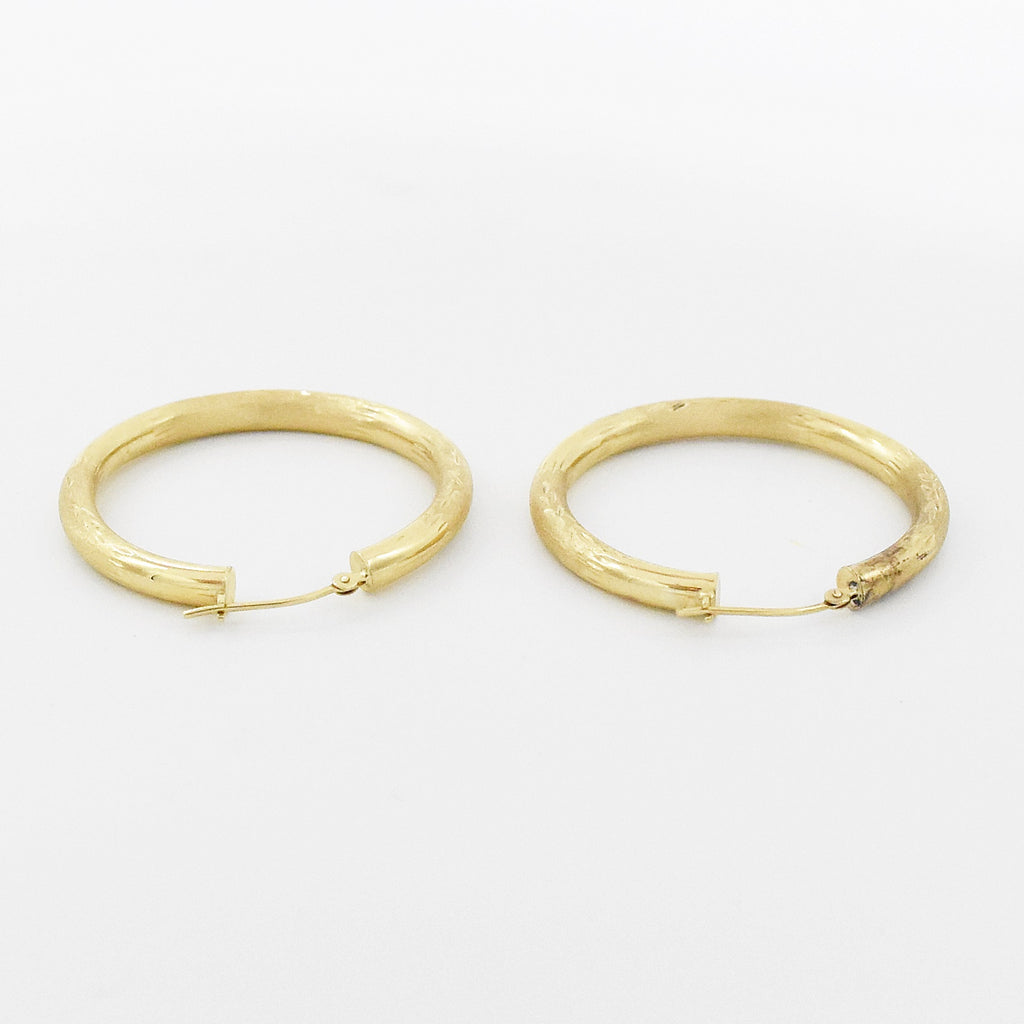 "14k Yellow Gold Estate Brushed Textured 1 1/2"" Hoop Earrings"