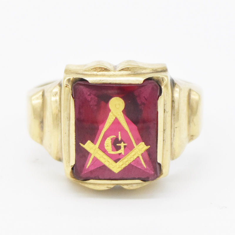 10k Yellow Gold Antique Ruby Masonic Ring Size 9.75