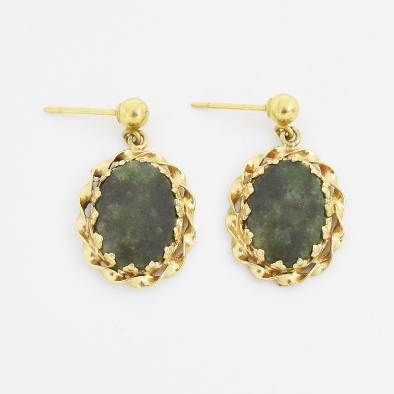 "14k Yellow Gold Estate Oval Jade 1"" Drop/Dangle Post Earrings"