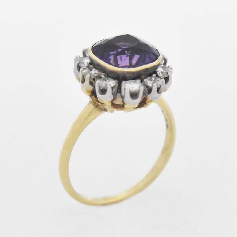 14k Yellow/White Gold Vintage Amethyst & Diamond Ring Size 7.75