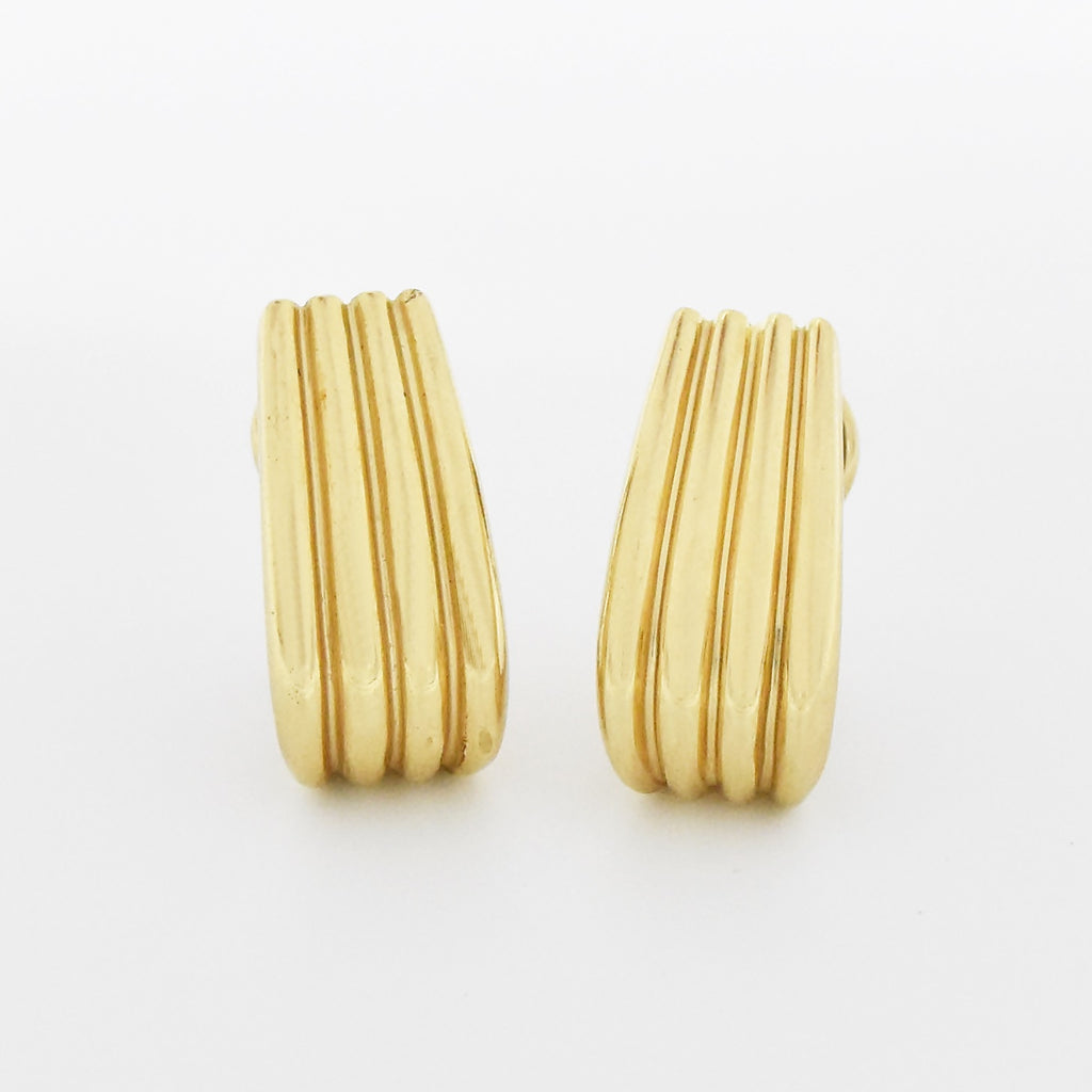 14k Yellow Gold Estate Ribbed J Hoop Omega Back Earrings