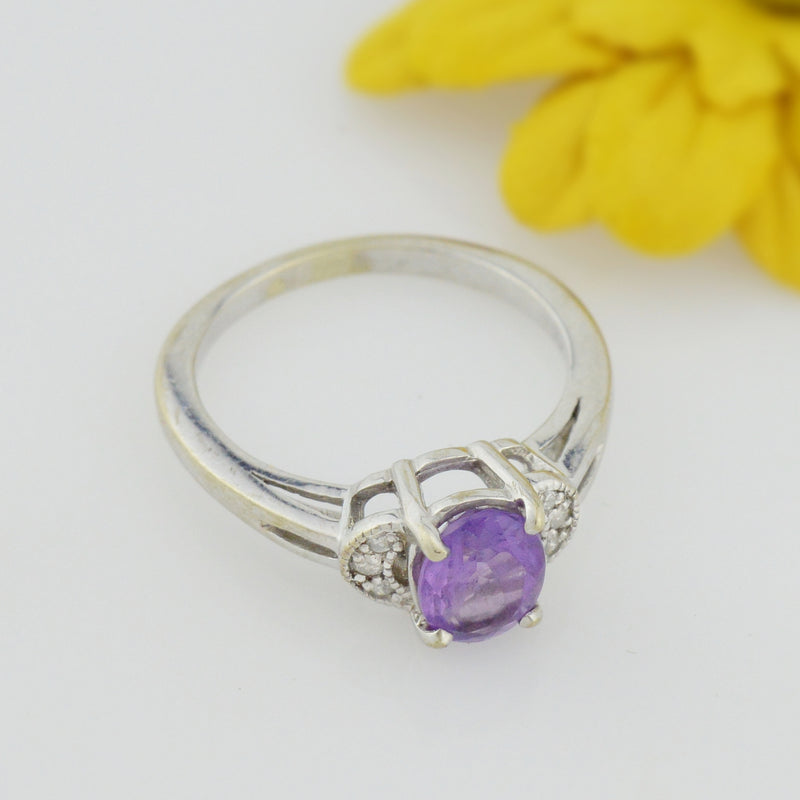 10k White Gold Estate Amethyst & Diamond Multistone Ring Size 7