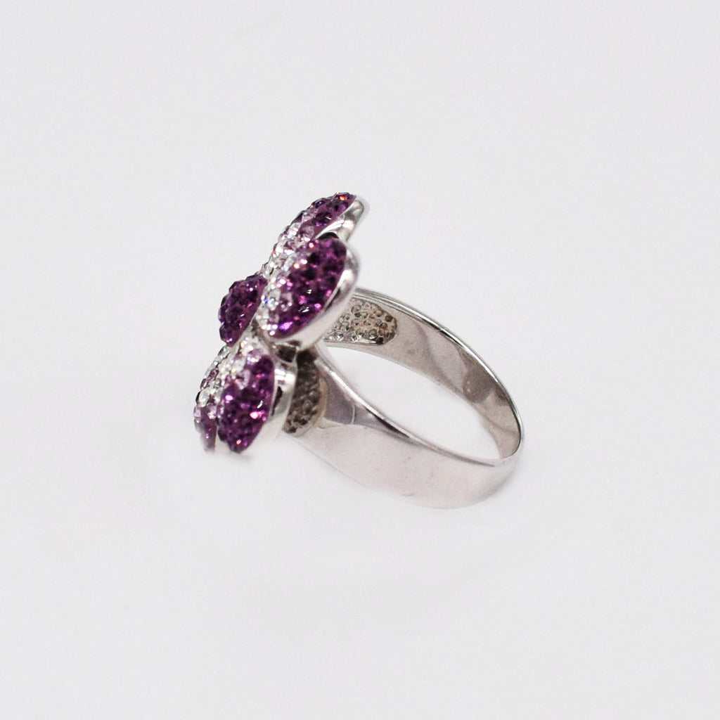New Sterling Silver CHELSEA TAYLOR Purple Crystal Flower Ring Size 9
