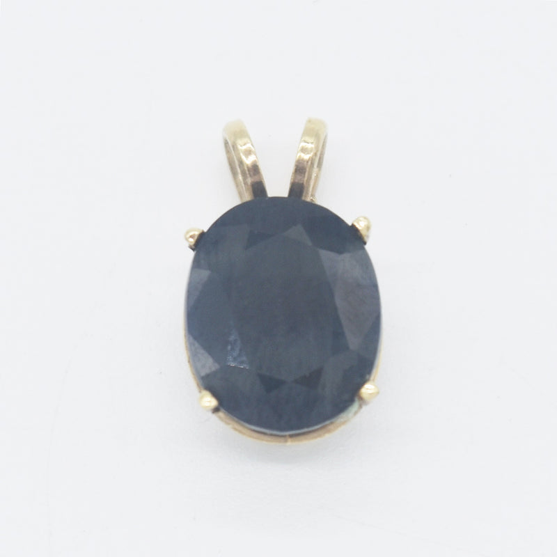 10k Yellow Gold Estate Oval Sapphire Pendant