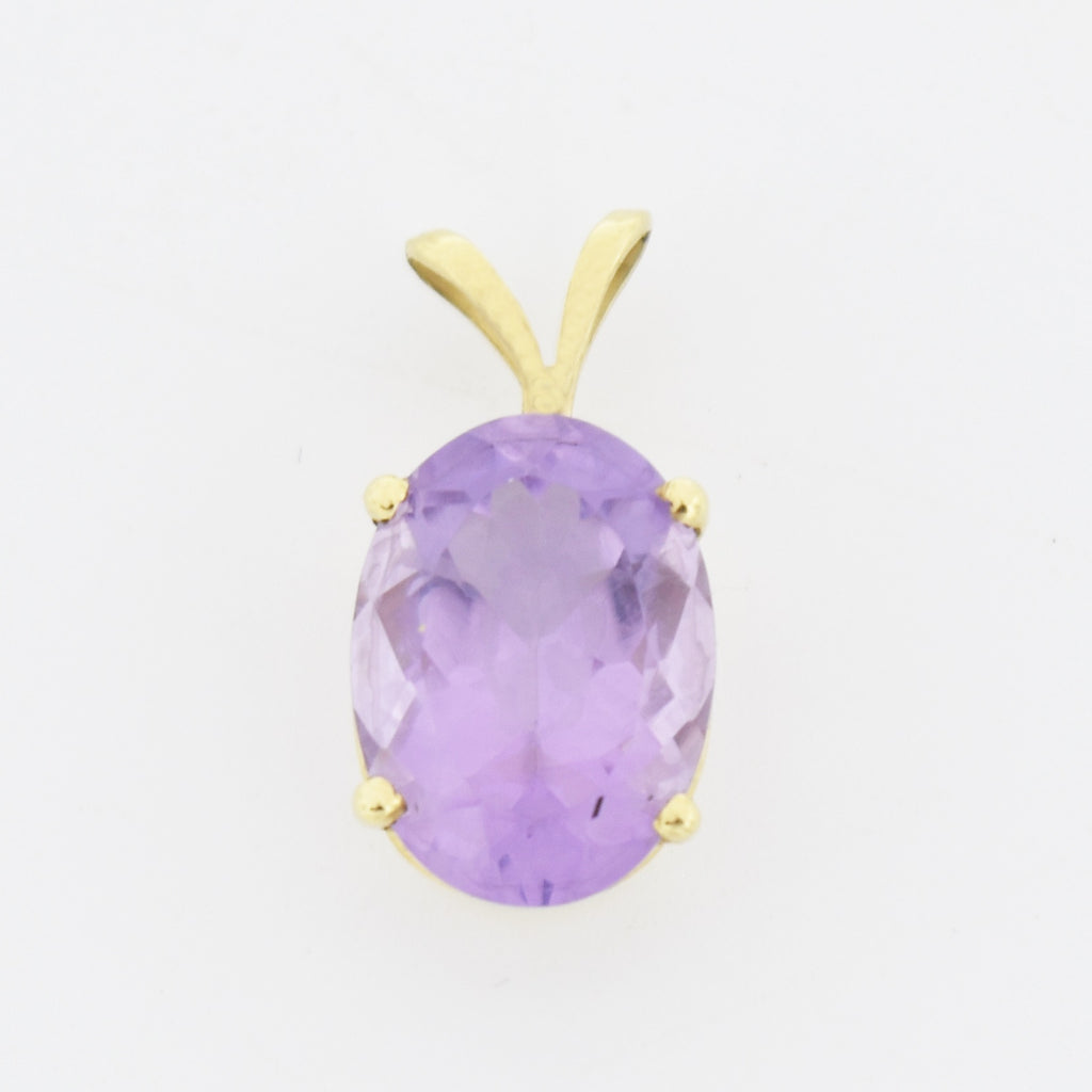 10k Yellow Gold Estate Oval Solitaire Amethyst Gemstone Pendant