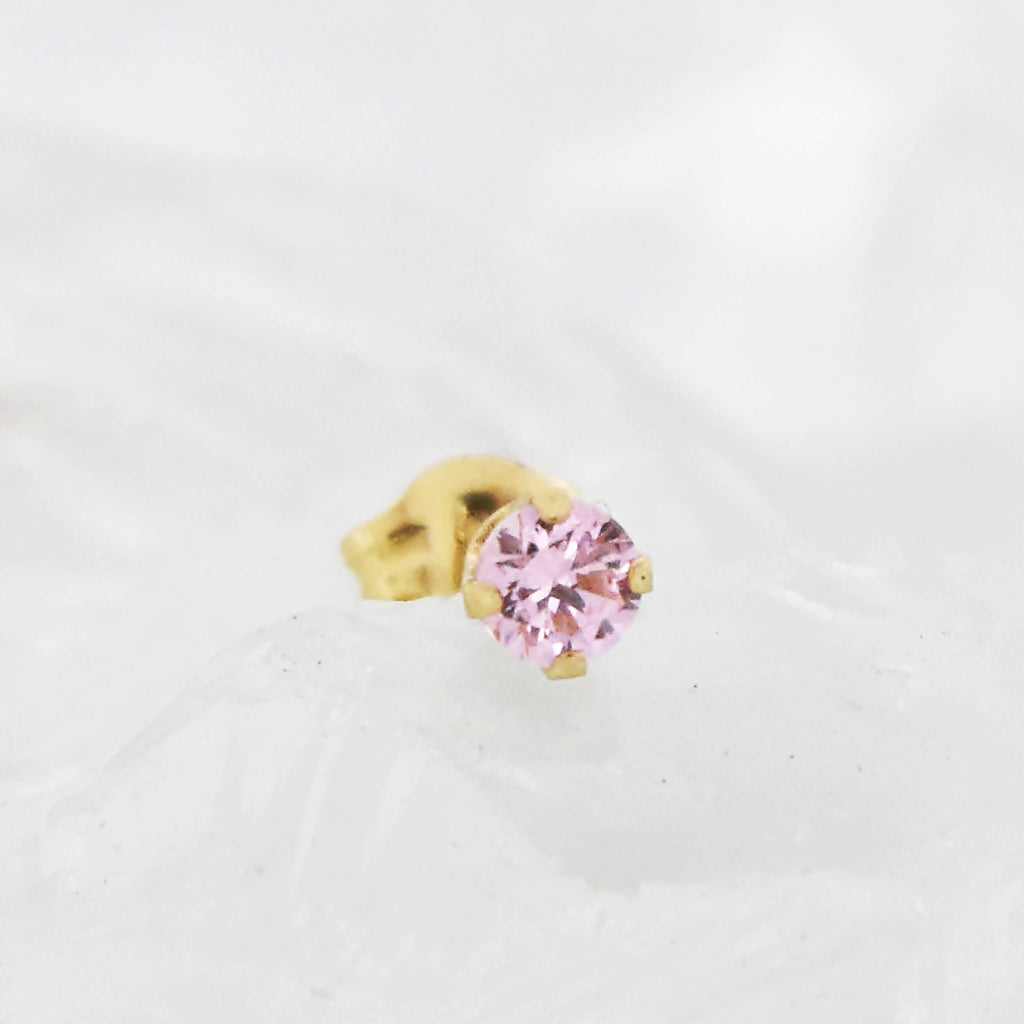 14k Yellow Gold Estate Pink CZ Stud Post Earring