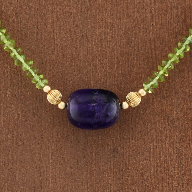 "14k Yellow Gold Estate Green Citrine/Amethyst Choker Necklace 17"" Long"