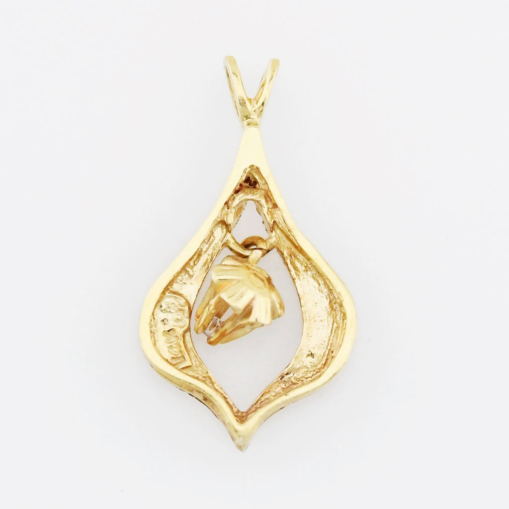 14k Yellow Gold Estate Textured Swinging Diamond Pendant
