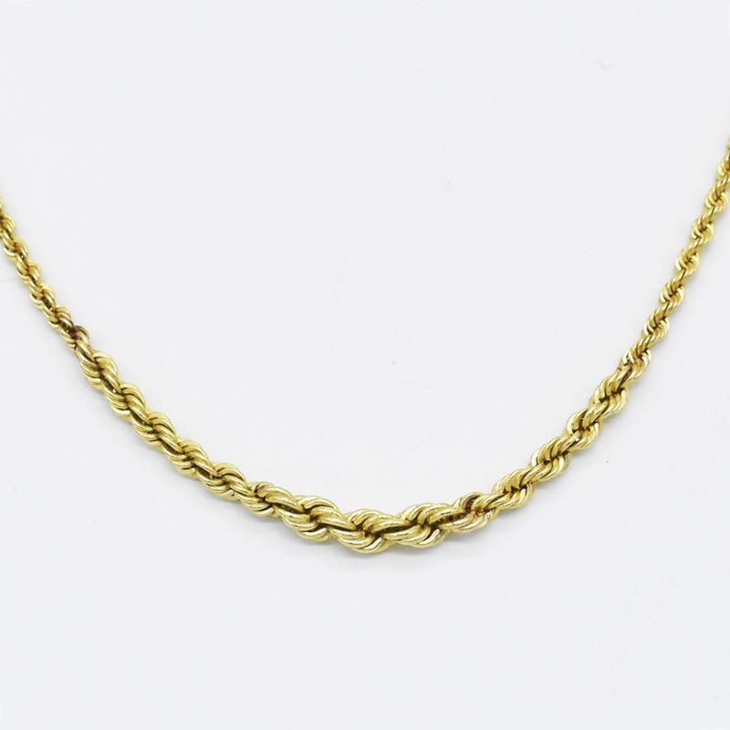 "14k Yellow Gold Estate 18.25"" Rope Style Chain/Necklace"