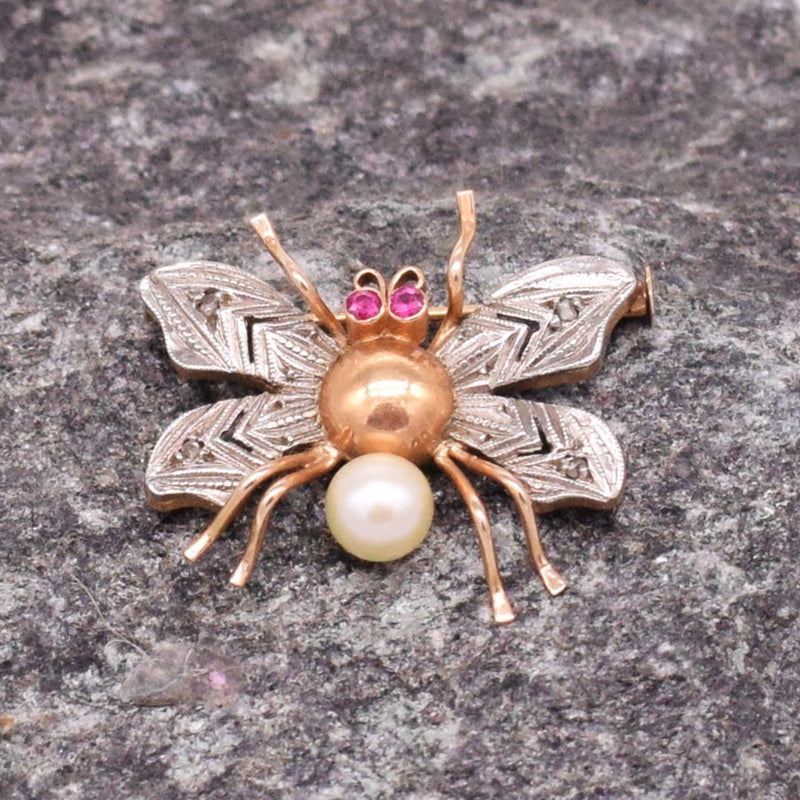14k Rose & WG Antique Ornate Ruby /Pearl Fly Insect Pin