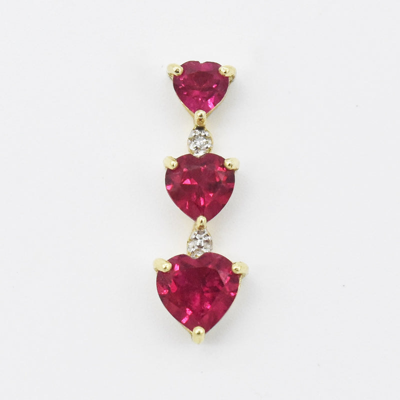 10k Yellow Gold Estate 3 Ruby Heart Love & Diamond Drop Pendant