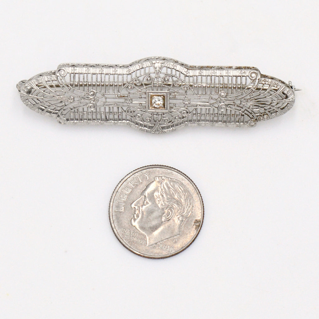 14k White Gold Antique Filagree Diamond .06 TCW Bar Pin