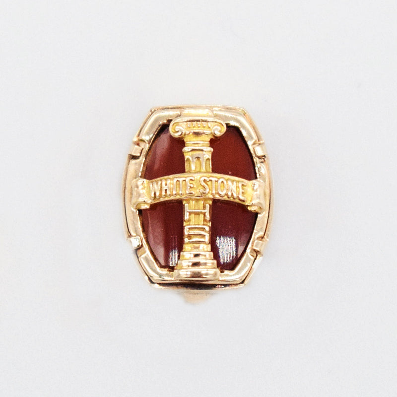 10k Yellow Gold Vintage Carnelian Textured Cross Pin