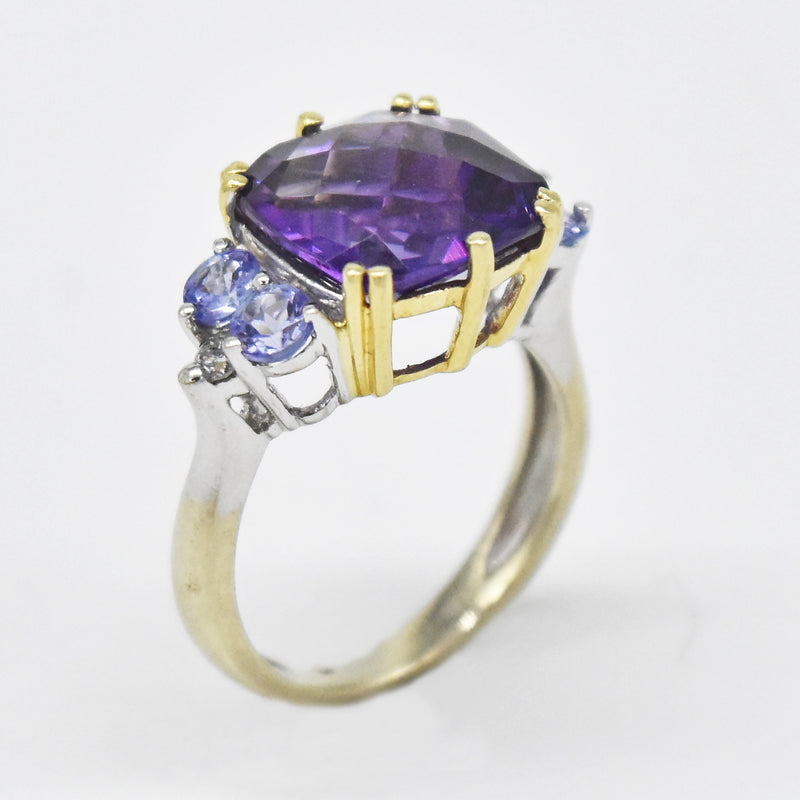 14k White Gold Estate Amethyst, Tanzanite & Diamond Ring Size 4.75