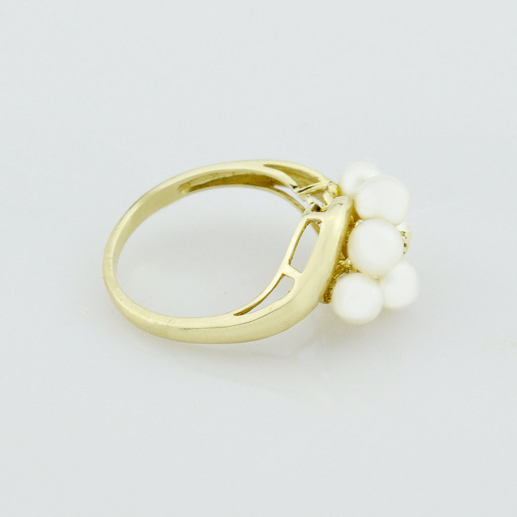 10k Yellow Gold Estate Pearl & Diamond Ring Size 8.25