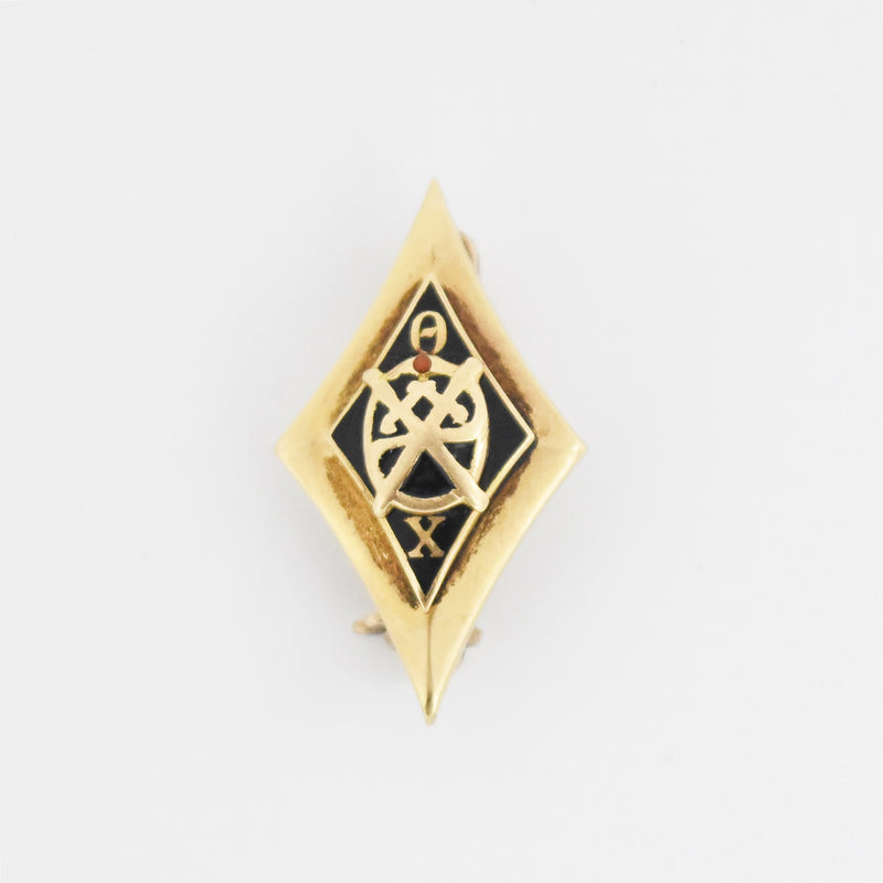 14k Yellow Gold Antique Cabochon Ruby Enamel Theta Chi Pin