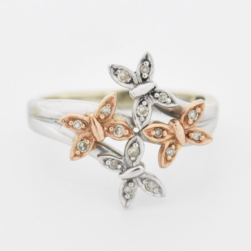 10k White & Rose Gold Diamond Butterfly Ring Size 5.5