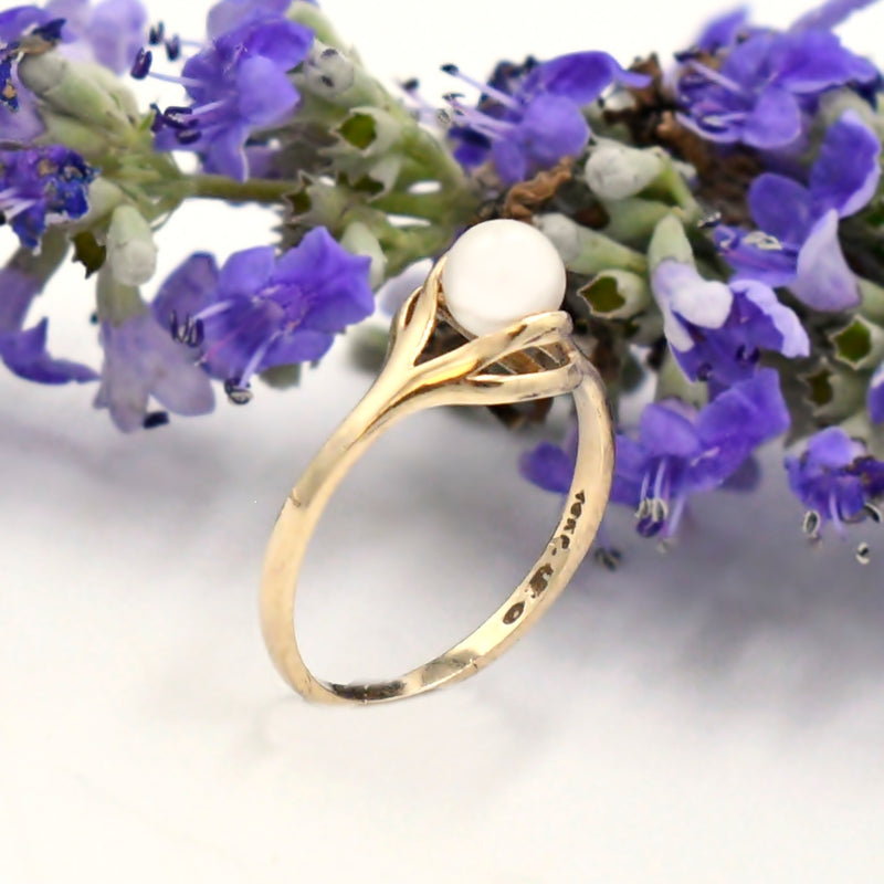 10k Yellow Gold Estate Open Work Pearl 5 mm Ring Size 6