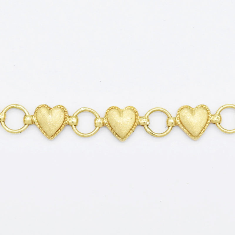 "14k Yellow Gold Estate 7.25"" Heart Love Link Bracelet"