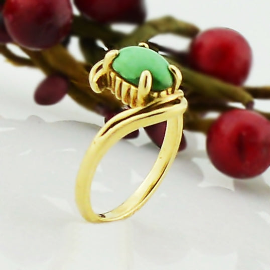 10k Yellow Gold Estate Green Turquoise Ring Size 6.25