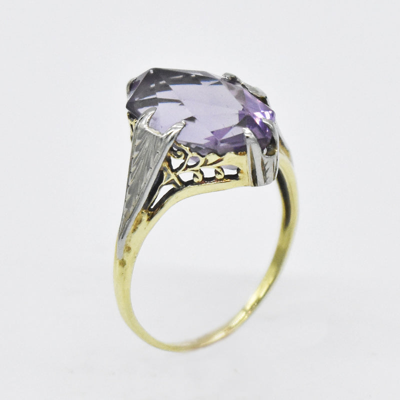 14k White & Yellow Gold Antique Filigree Amethyst Ring Size 8