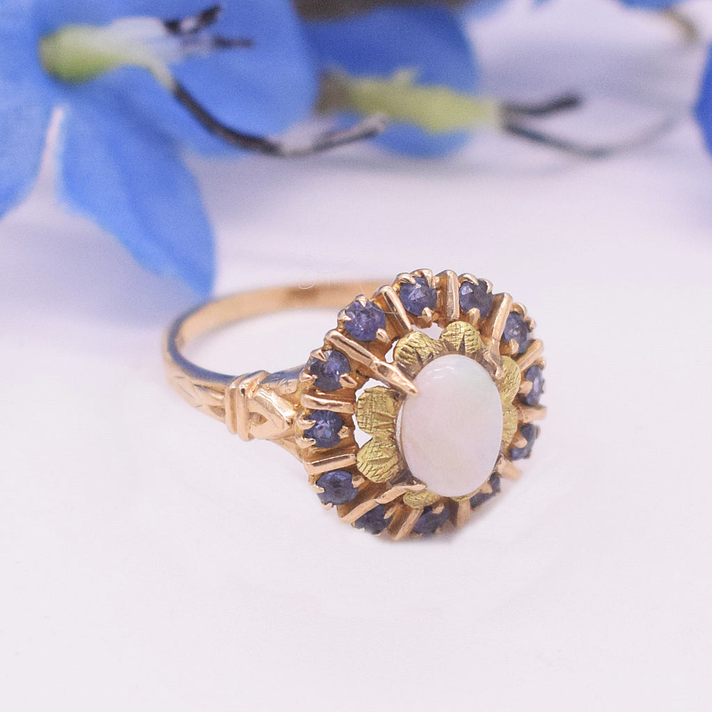 10k YG Fire Opal & Blue Topaz Cocktail Ring Size 7.75