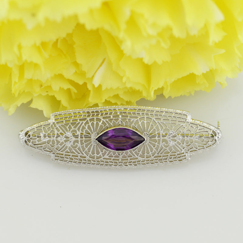 10k White Gold Antique Filigree Purple Gemstone Pin