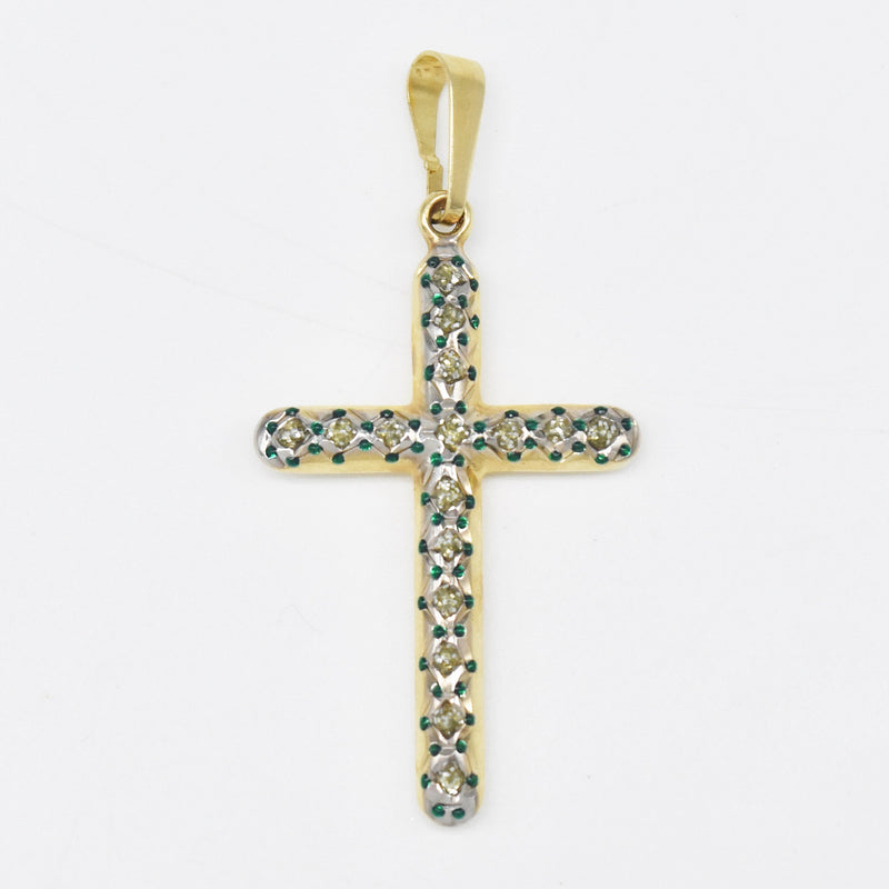 14k Yellow & White Gold Estate Green Beaded Cross Religious Pendant