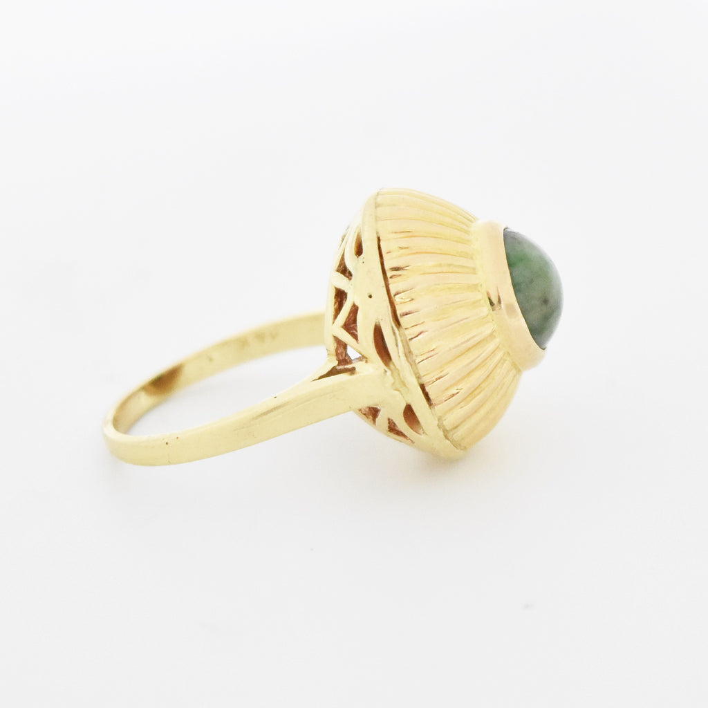 14k Yellow Gold Estate Textured Dome Moss Green Agate Ring Size 6.75