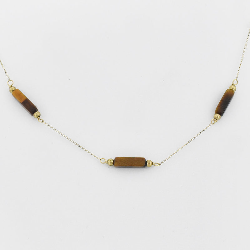 "14k Yellow Gold Estate 15"" Tiger Eye Choker Necklace"