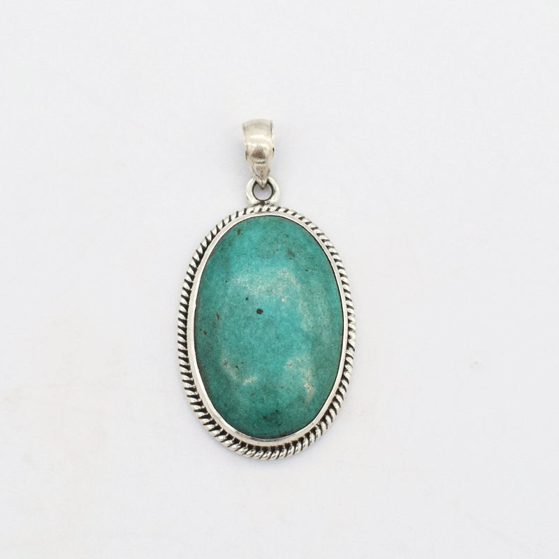 "Sterling Silver 925 Estate 1 3/4"" Oval Turquoise Pendant"