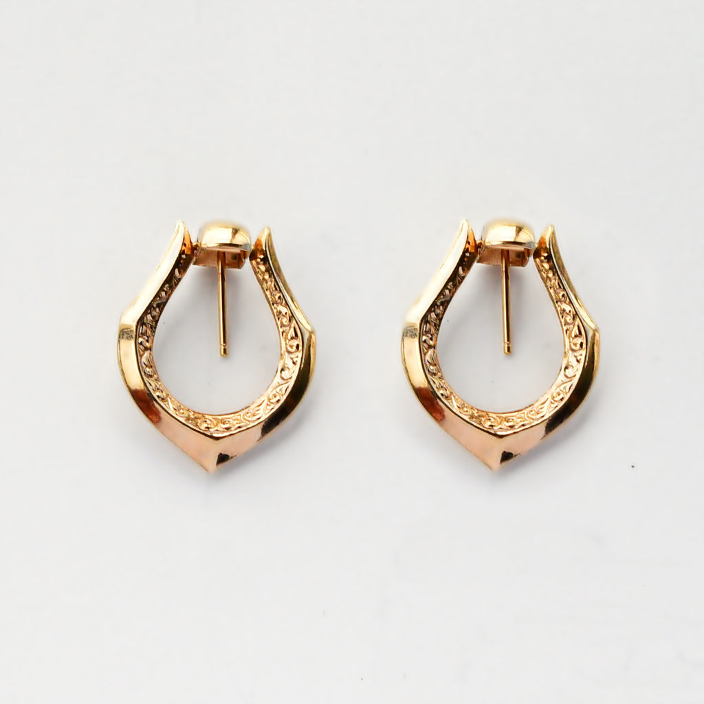 14k Yellow Gold Estate Scroll Design Swing Dangle/Drop Post Earrings