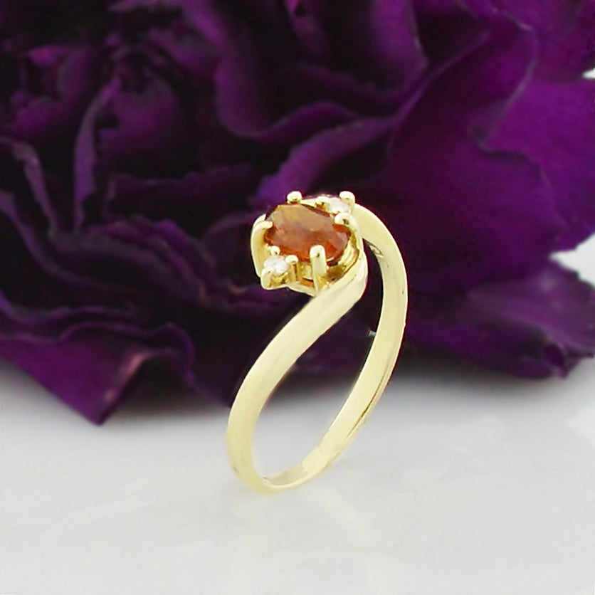14k Yellow Gold Estate Citrine & Diamond Ring Size 6.25
