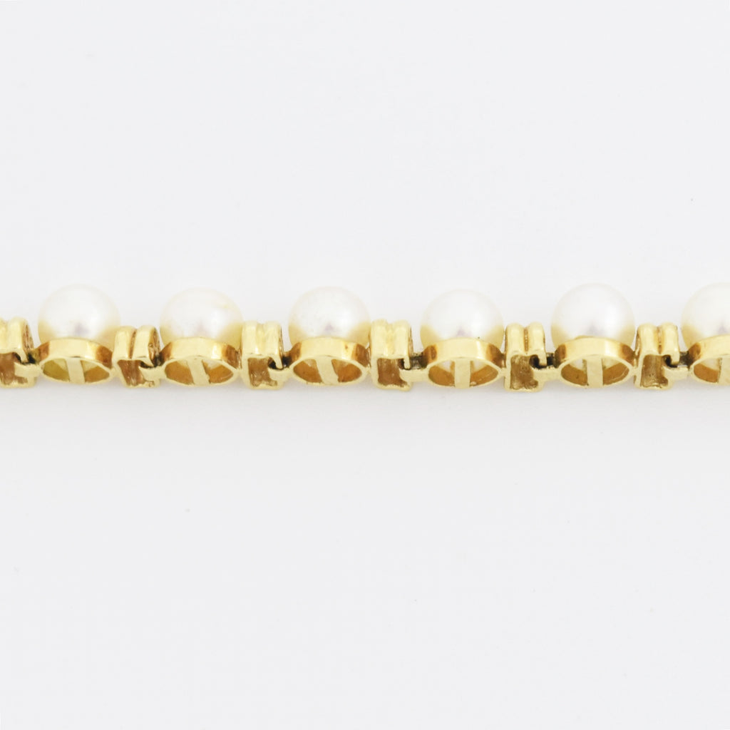 "14k Yellow Gold Estate 7.5"" Pearl & Bar Link Bracelet"