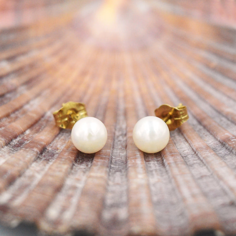 14k Yellow Gold Estate Pearl Ball Post Earrings