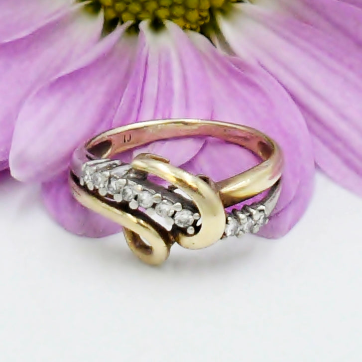 10k Yellow & White Gold Estate Swirl Diamond .15 tcw Ring Size 5