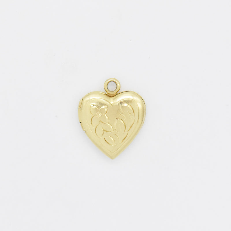 14k Yellow Gold Estate Vintage Flower Motif Heart Locket Pendant