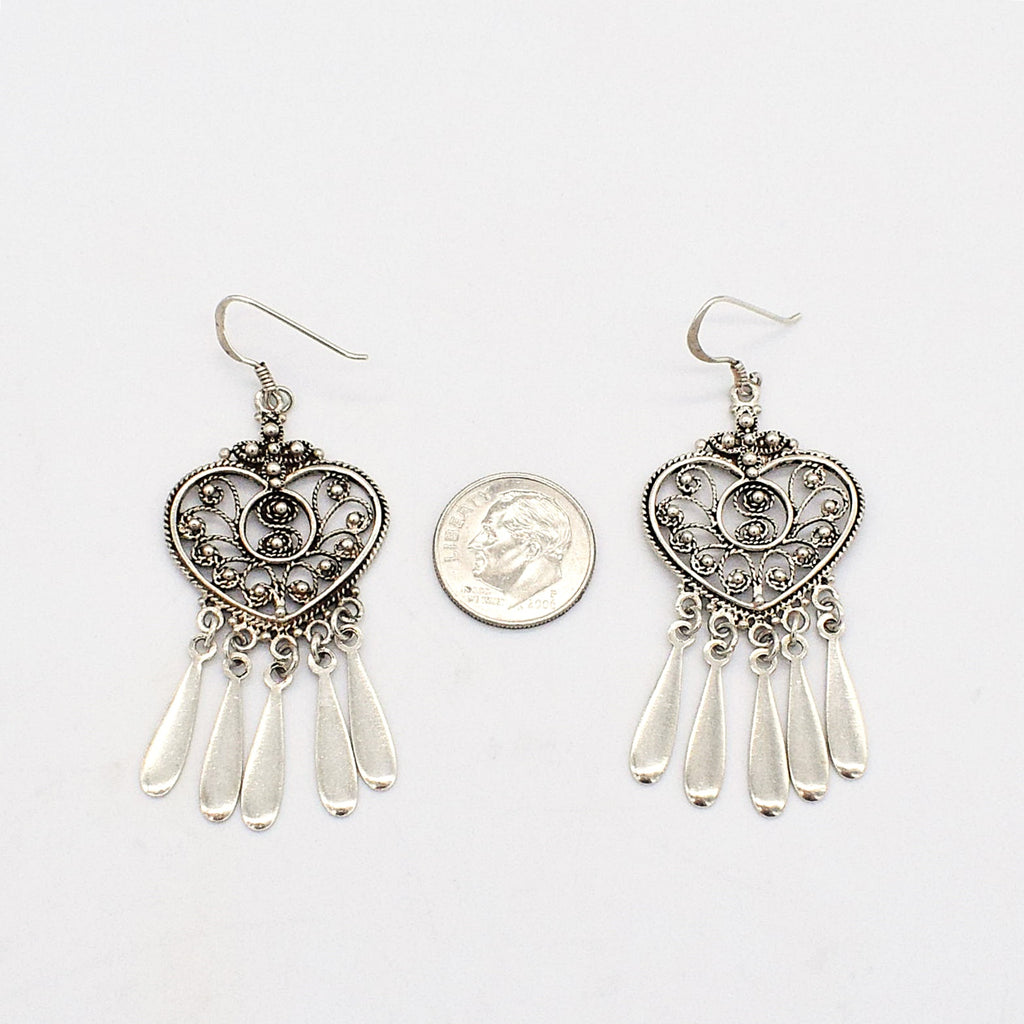 Sterling Silver 925 Estate Fancy Filigree Heart Dangle/Drop Earrings
