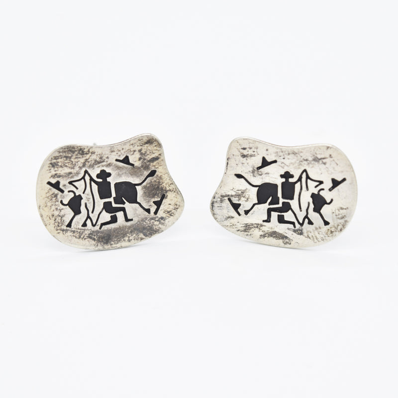 Sterling Silver 925 Vintage Mexico Bull & Toreador Cufflinks