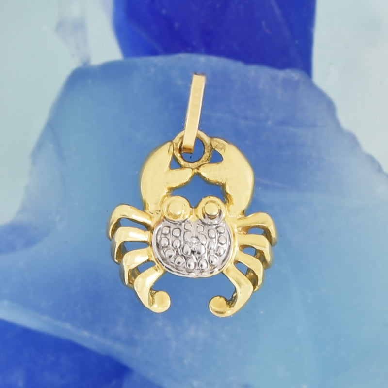 14k Yellow & White Gold Textured Diamond Crab Pendant