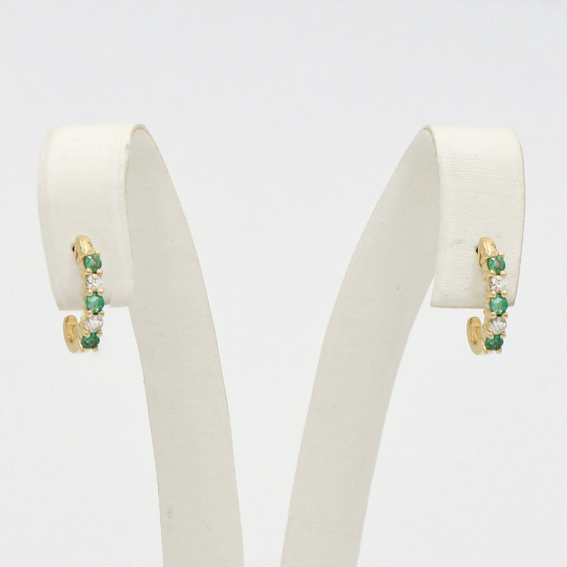 14k Yellow Gold Estate Emerald & Diamond J Hoops/Hoop Earrings