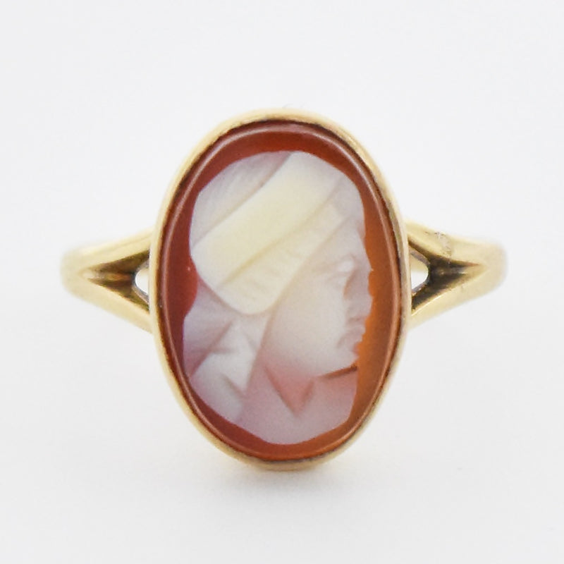 10k Yellow Gold Antique Carved Cameo Ring Size 4